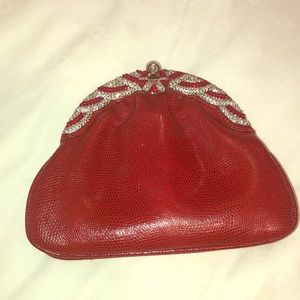 Charming jeweled red evening bag
